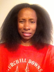 This is that same hair straightened at home (but not styled). My expression looks like I just changed my son's diaper!